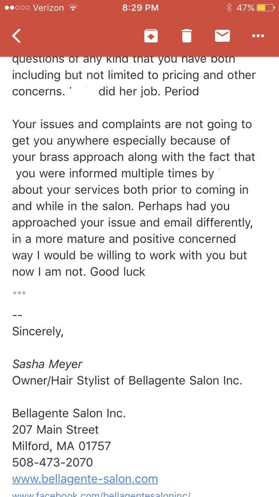 Bellagente Salon Hair Salons 207 Main St Milford Ma Phone