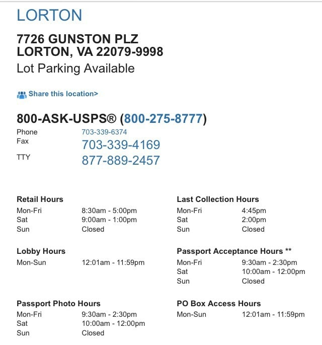 US Post Office: 7726 Gunston Plz, Lorton, VA
