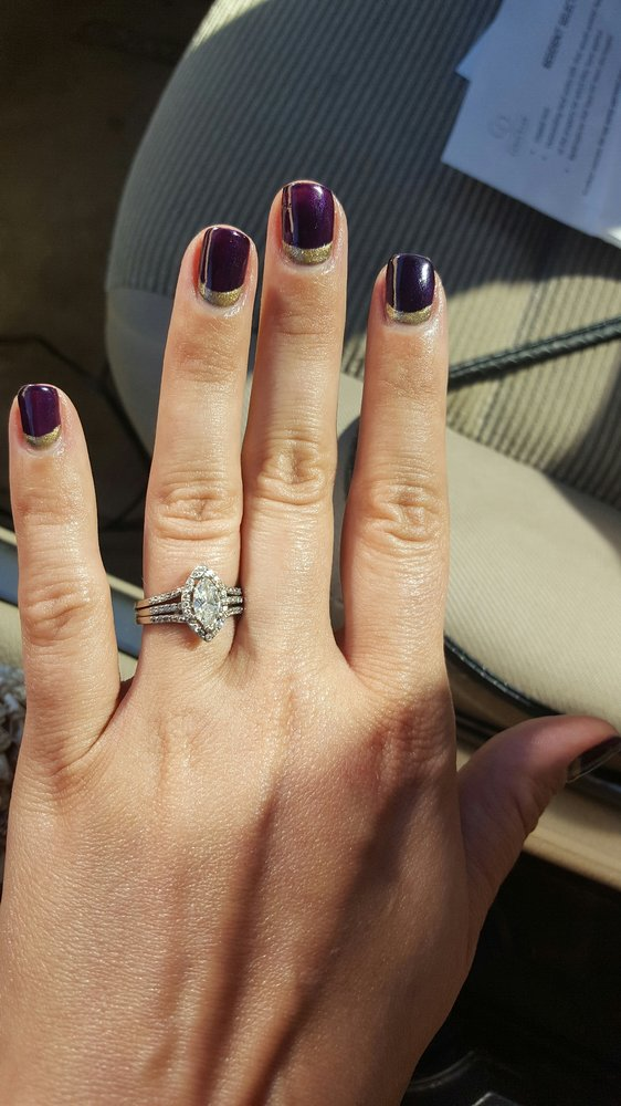 Reverse french manicure in purple and gold at Kims Nail Salon - Yelp