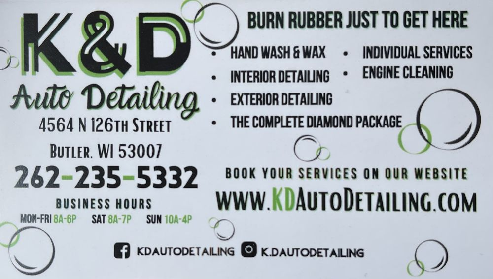 K&D's Auto Detailing: 4564 North 126th St, Butler, WI
