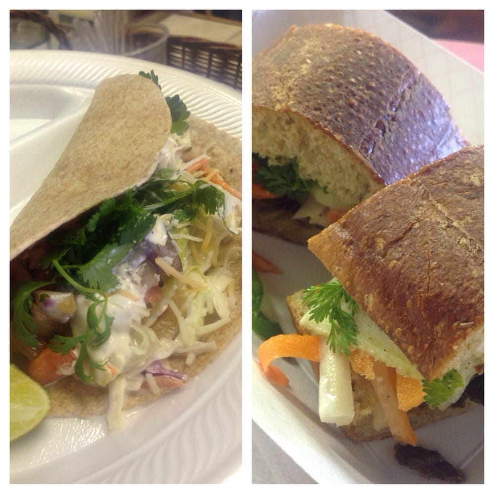 Eastside Motors Baltimore Maryland: Delicious Fish Tacos On The Left And Banh Mi On The Right