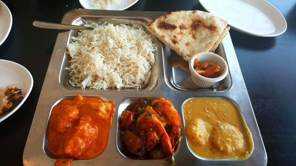 Seafood lunch thali with scallop coconut bit sweet but very satisfying salmon curry so good - Malabar indian cuisine richmond va ...