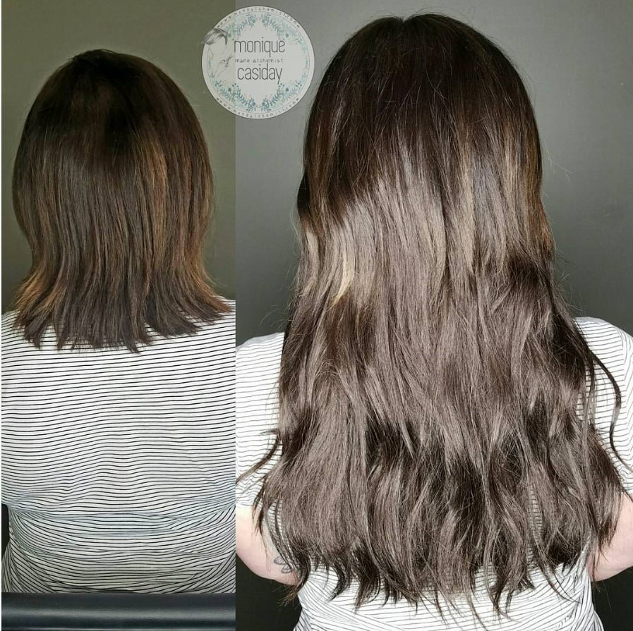 Before And After Of Hair Extensions In The Non Sewn Beaded Weft