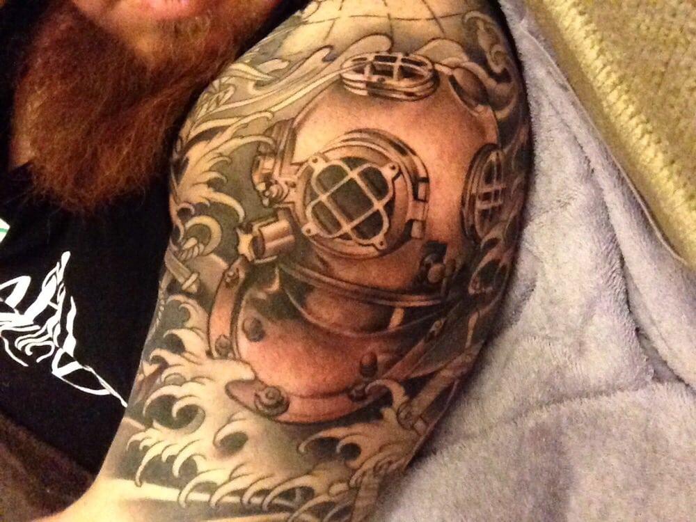 First half sleeve mark v dive helmet yelp for Full circle tattoo