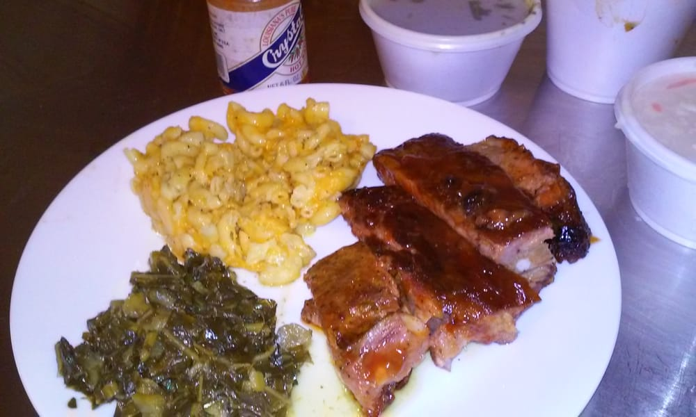 Delicious ribs with collards and mac n cheese yelp for Food at bar 38