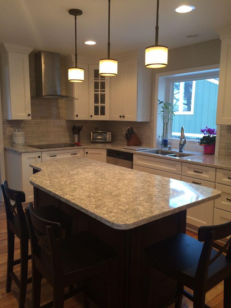 Berwyn Cambria Kitchen: White Kitchen With Dark Island, Cambria Quartz Countertop