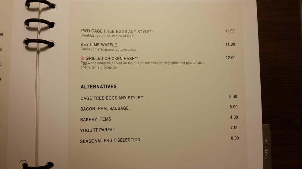 Hyatt Regency Long Island Room Service Menu