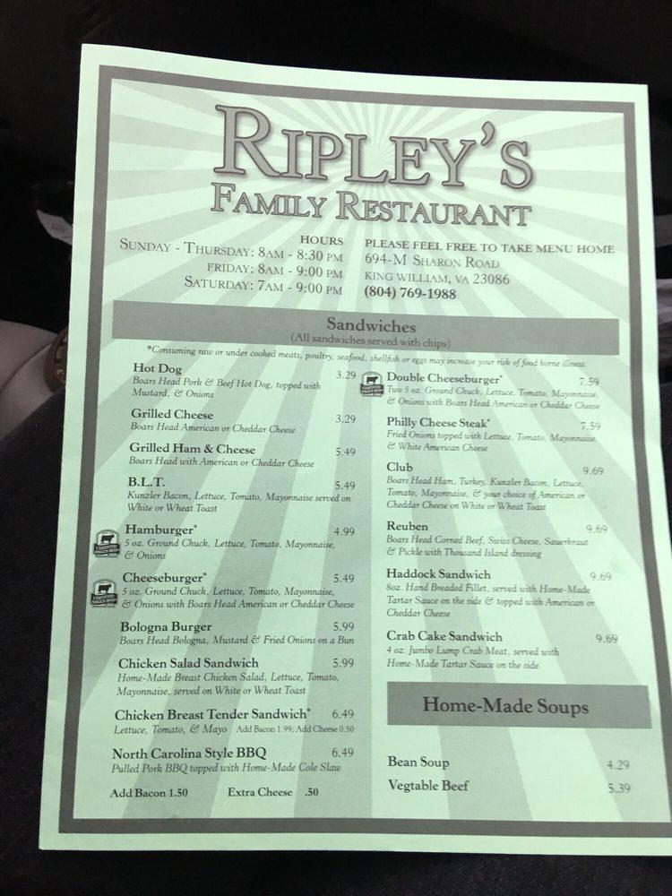 Ripley's Family Restaurant: 694-M Sharon Rd, Aylett, VA