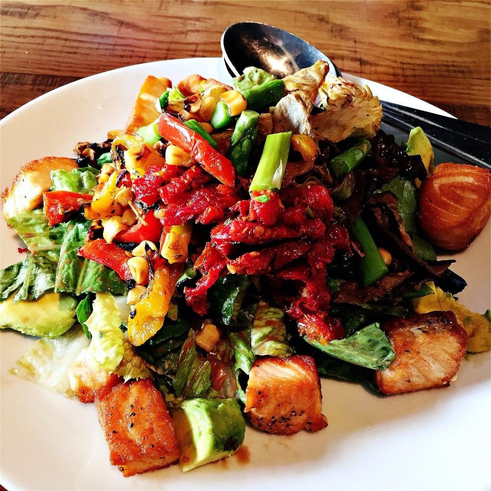 California Pizza Kitchen Yelp: Roasted Veggie Salad With Salmon.