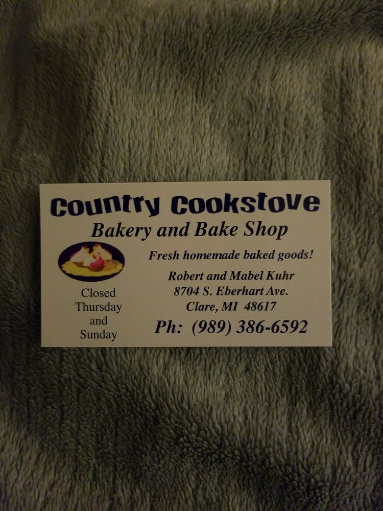 Country Cookstove Bakery: 8704 S Eberhardt Dr, Clare, MI