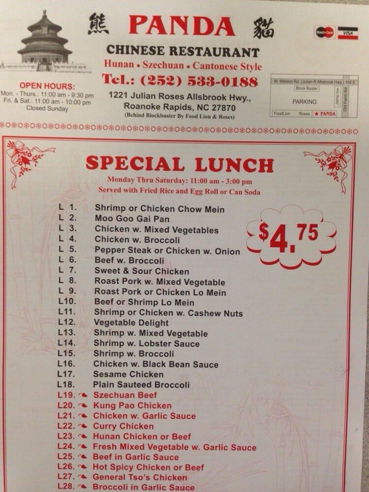 Panda Chinese 1219 Julian R Allsbrook Hwy Roanoke Rapids Nc Restaurant Reviews Phone Number Menu Yelp
