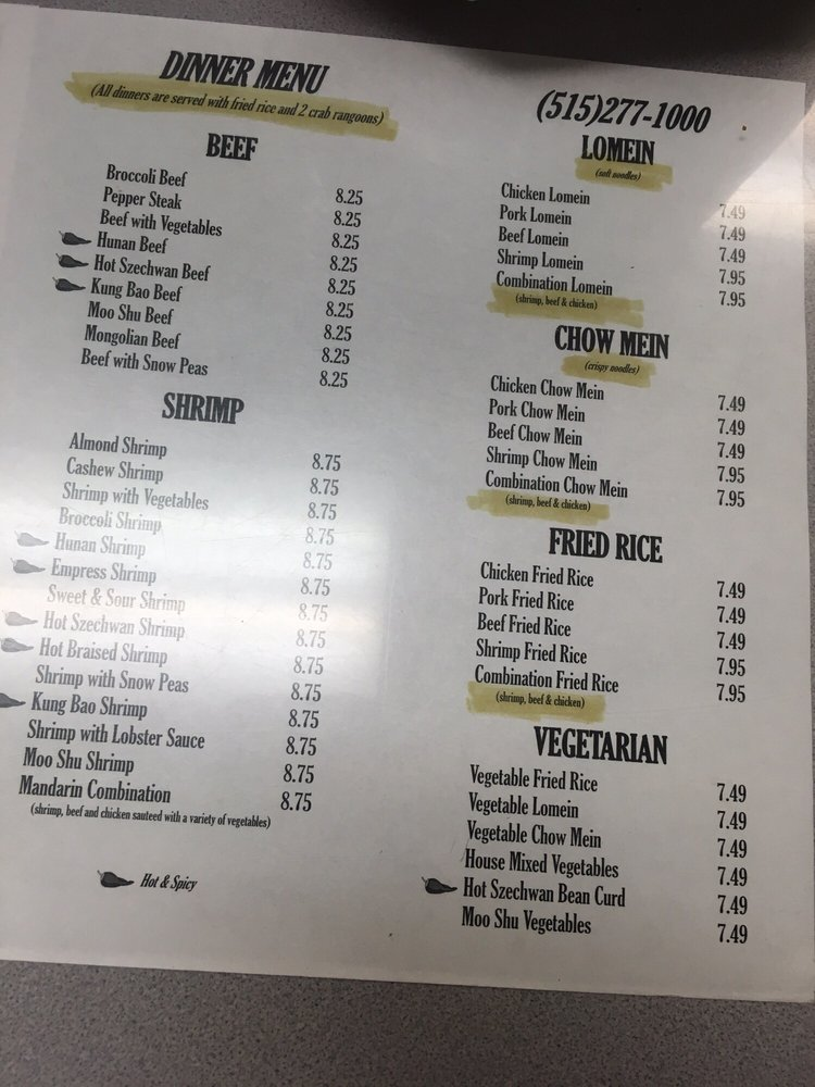Menus to help with ordering yelp for Asian cuisine grimes ia menu