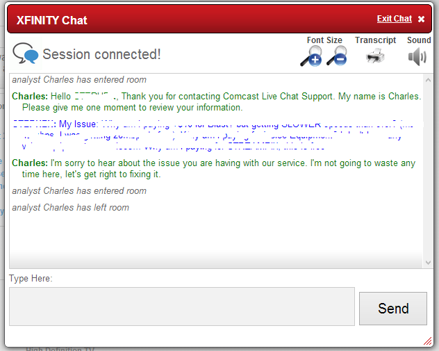 XFinity Customer Service Online Chat (my personal