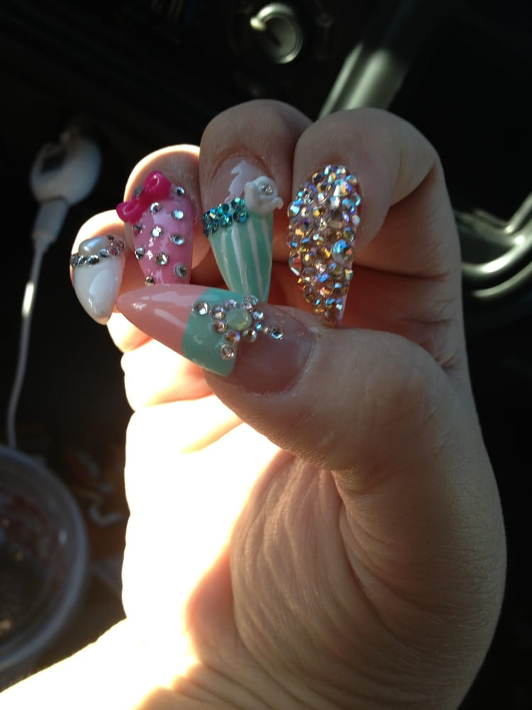 Photo of Blue Diamond Nails - Ontario, CA, United States. bling bling!