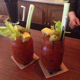 The Hudson House - Nyack, NY, United States. Bloody Marys by Jose- mine w bourbon hubby's with tequila