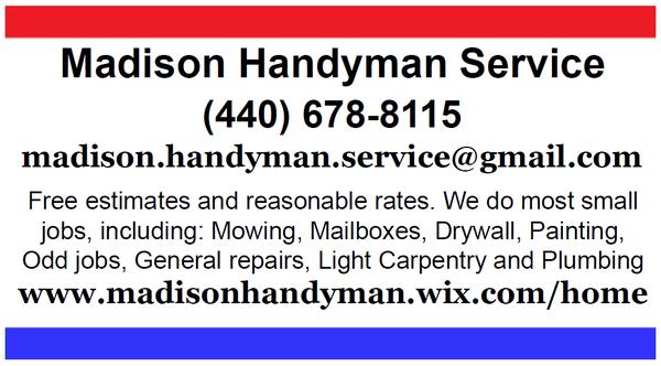 Madison Handyman Service Madison, OH Handyman Services