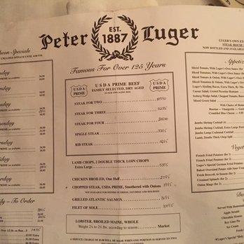 Peter Luger Menu Long Island