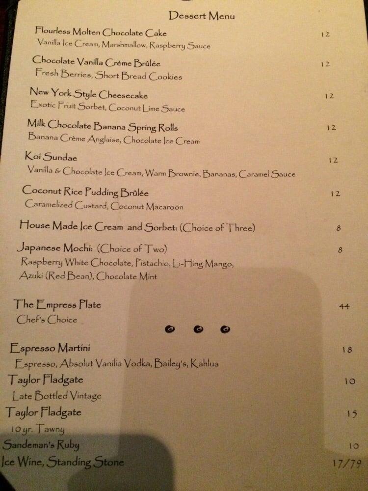 Dessert menu yelp for Koi new york
