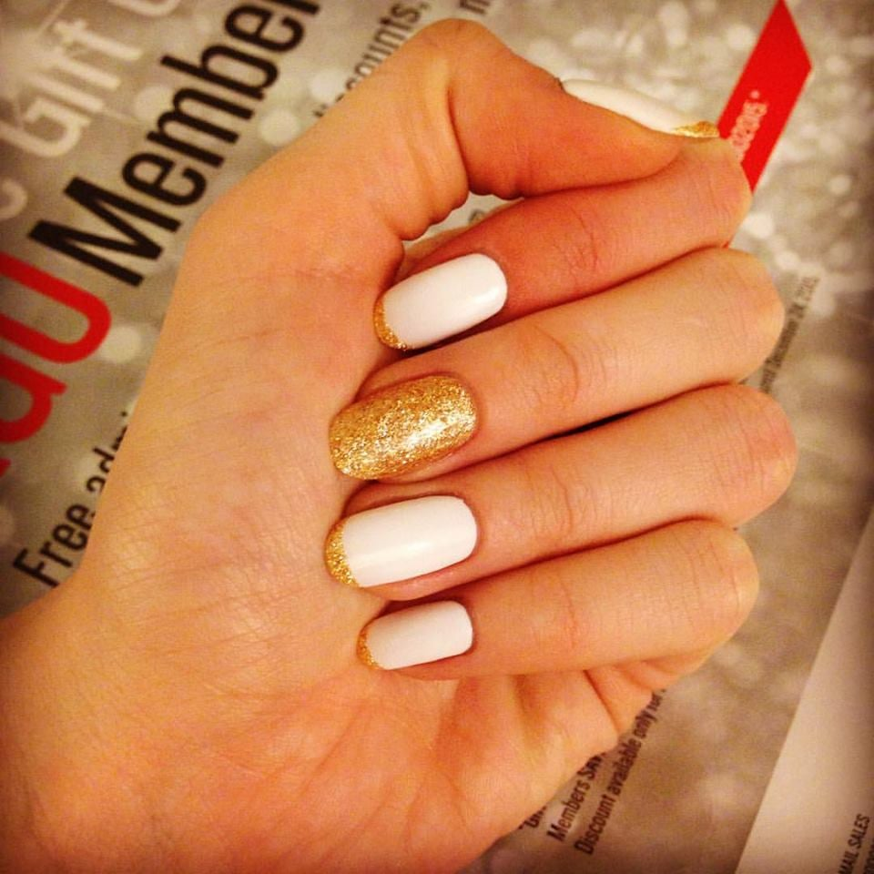 Gel holiday french with accent nail, round shaped, done on natural ...