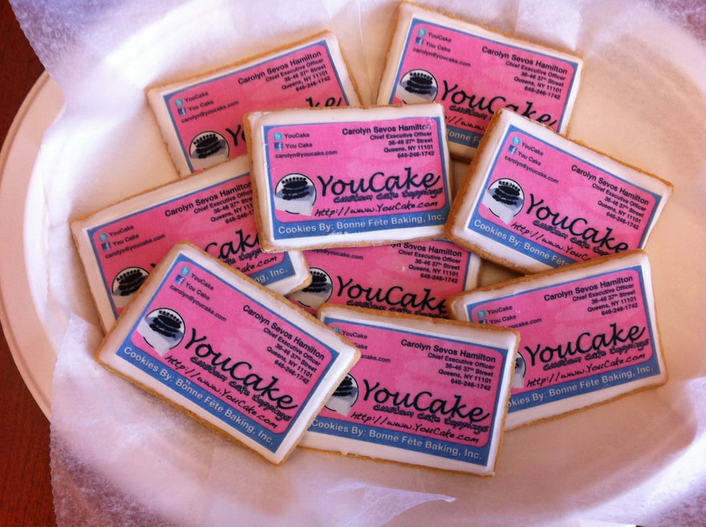 Edible business card sugar cookies yelp photo of youcake long island city ny united states edible business card reheart Image collections