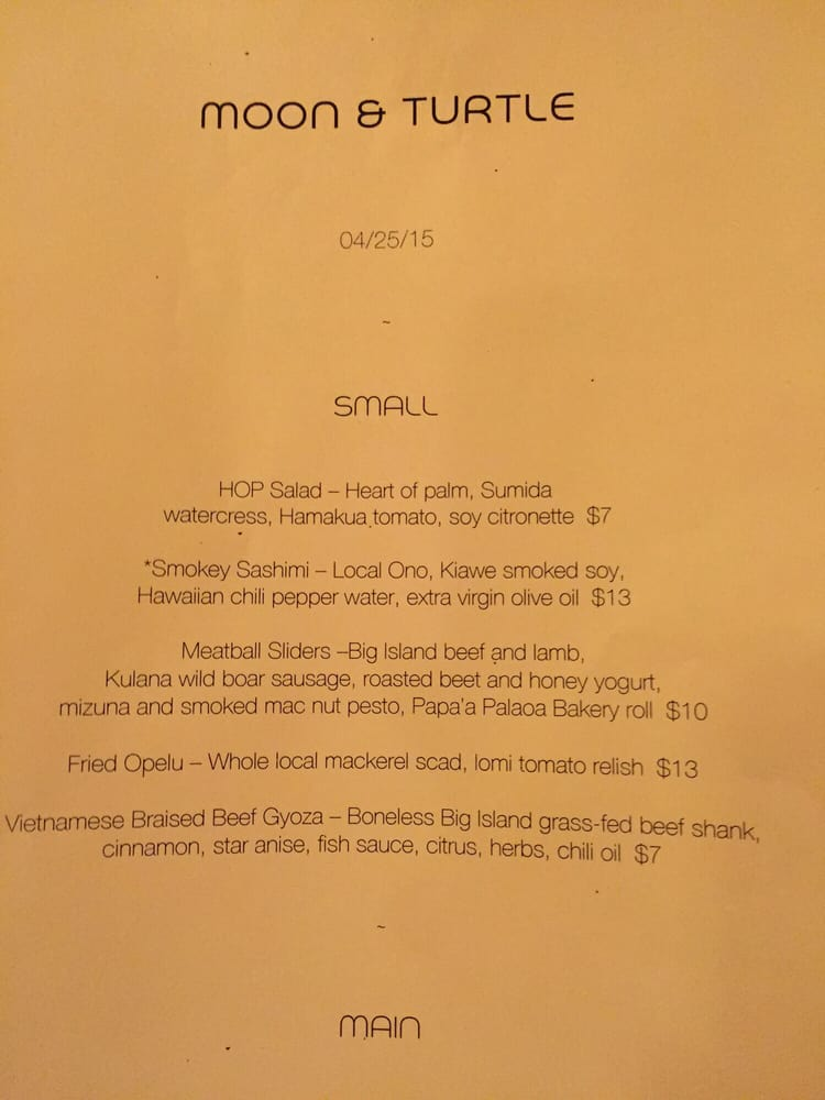 Menu For The Day Yelp