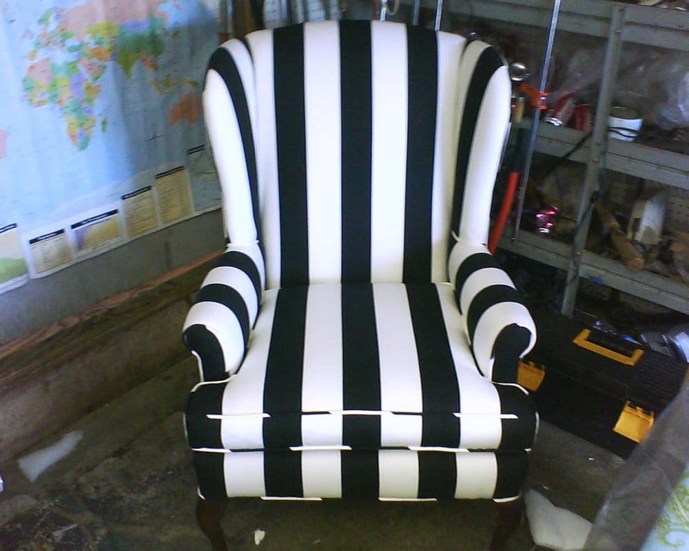 Wing Back Chair Reupholstered In A Black And White Striped