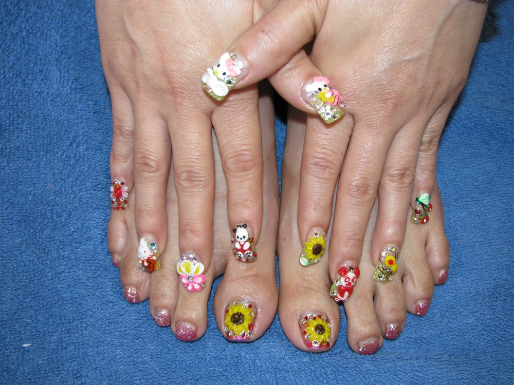 Faded French Toe Nail With 3d Hand Nail Art Yelp