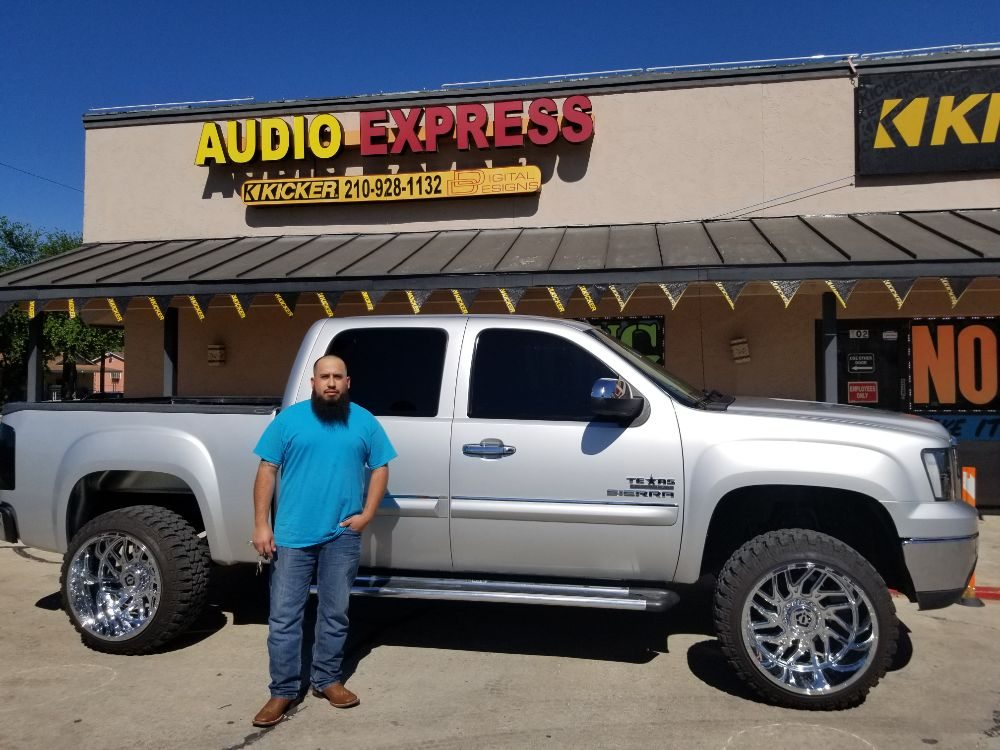Super happy with his two DD AUDIO 8 inch woofers and 2500