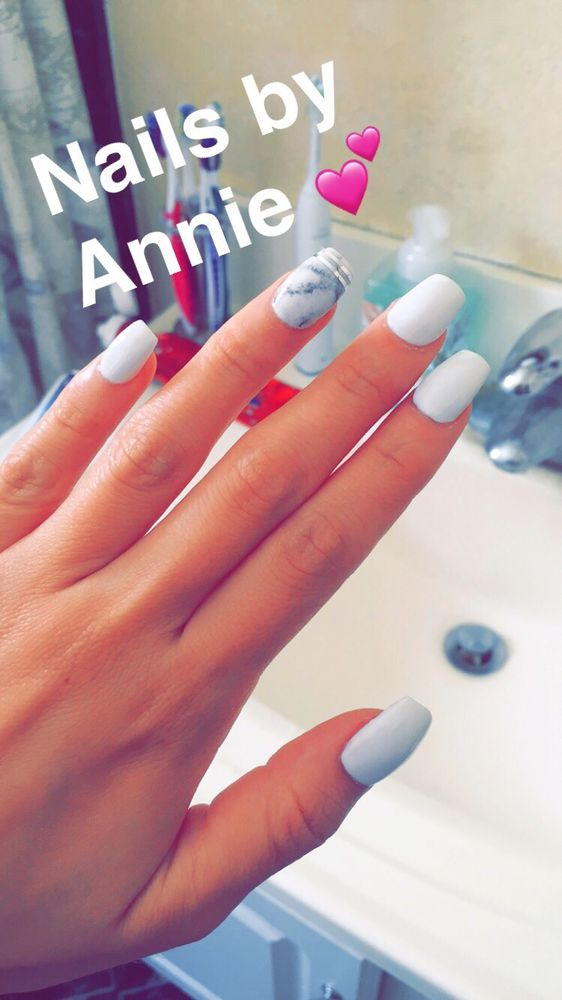White marble gel nails by Annie. - Yelp