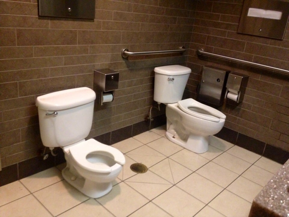 Family restroom toilet for adult a mini toilet 4 kids for Bathroom cleaning services near me