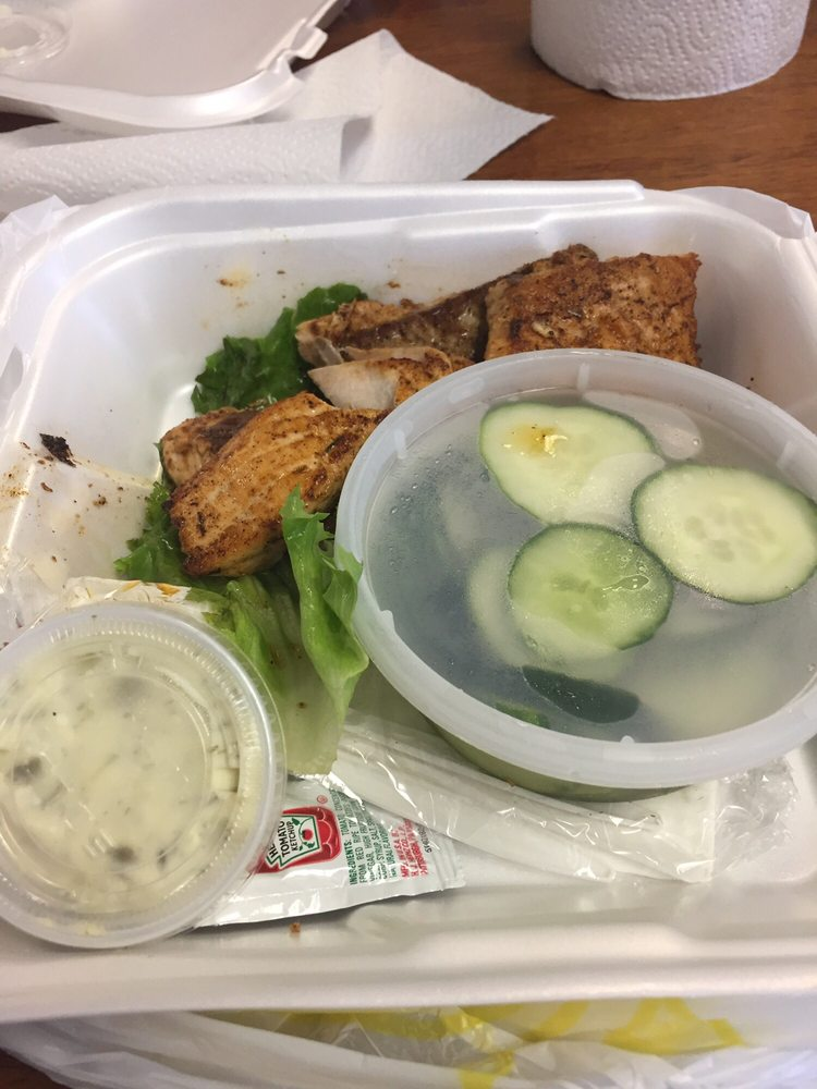 Blackened salmon with cuke salad yelp for Pops fish market