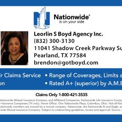 Nationwide Claims Phone Number >> Leorlin Boyd Nationwide Insurance Insurance 11041 Shadow Creek