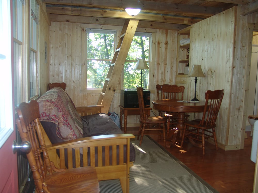 White oak tree house living room area yelp for 8 living room tree houses powys