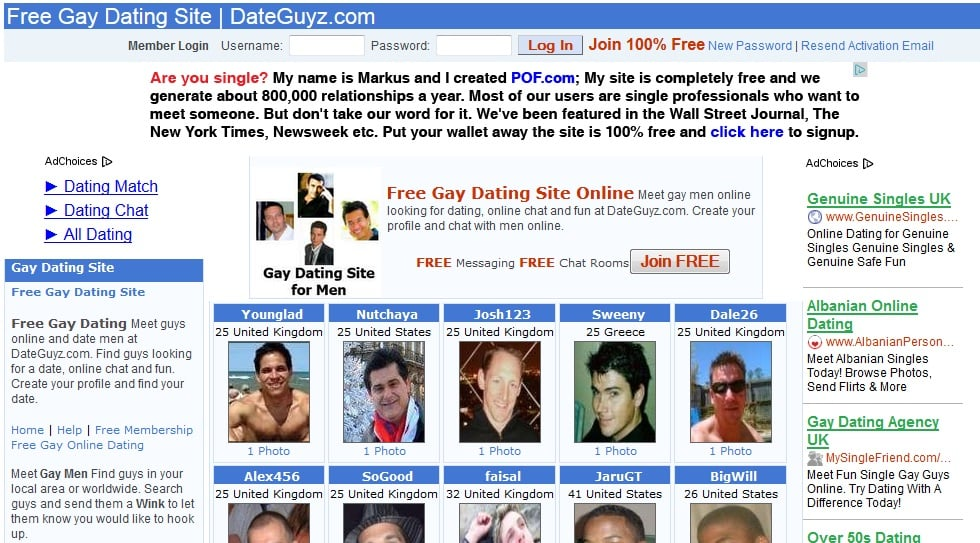 Free gay online dating sites