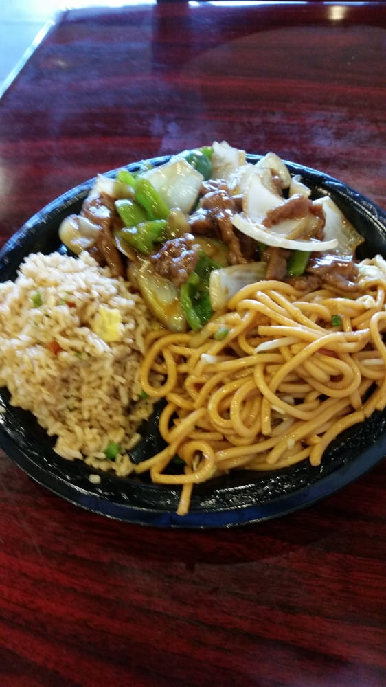 Beef pepper steak, soft chow mein noodles, and fried rice. 2/28
