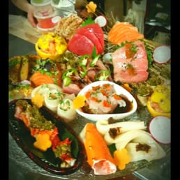 "Mizu Hibachi & Sushi - New City, NY, United States. There is no name for this, so I call it the ""ultimate sashimi platter"""