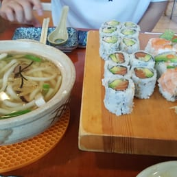 Hinode Japanese Restaurant - Piermont, NY, United States. boston roll, alaska roll, and tiger roll with udon