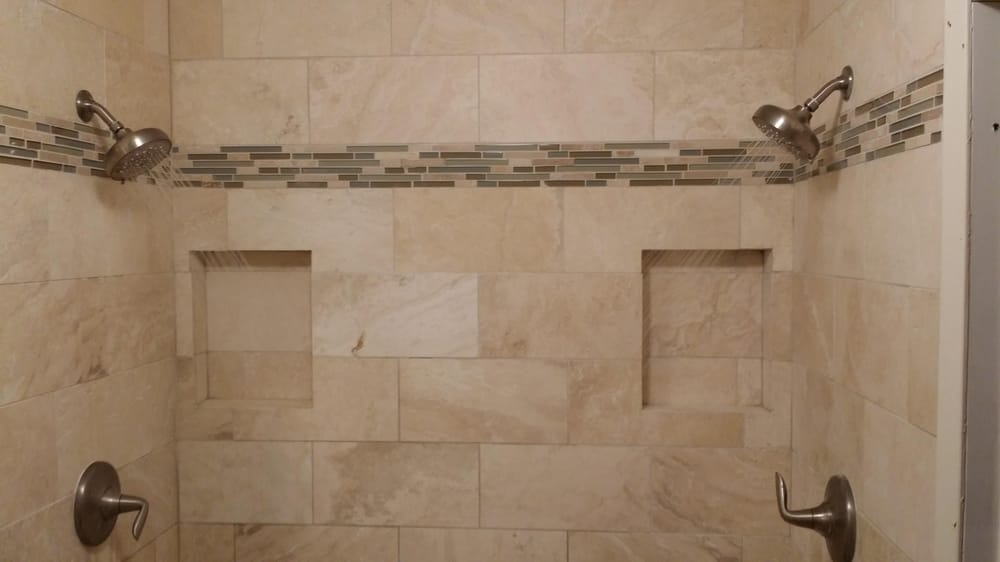 5ft x 3ft walkin shower with corner bench 2 wall niches using 8in x ...