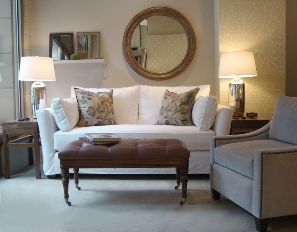Slipcovered Contemporary Sofa, Tufted Leather Provence