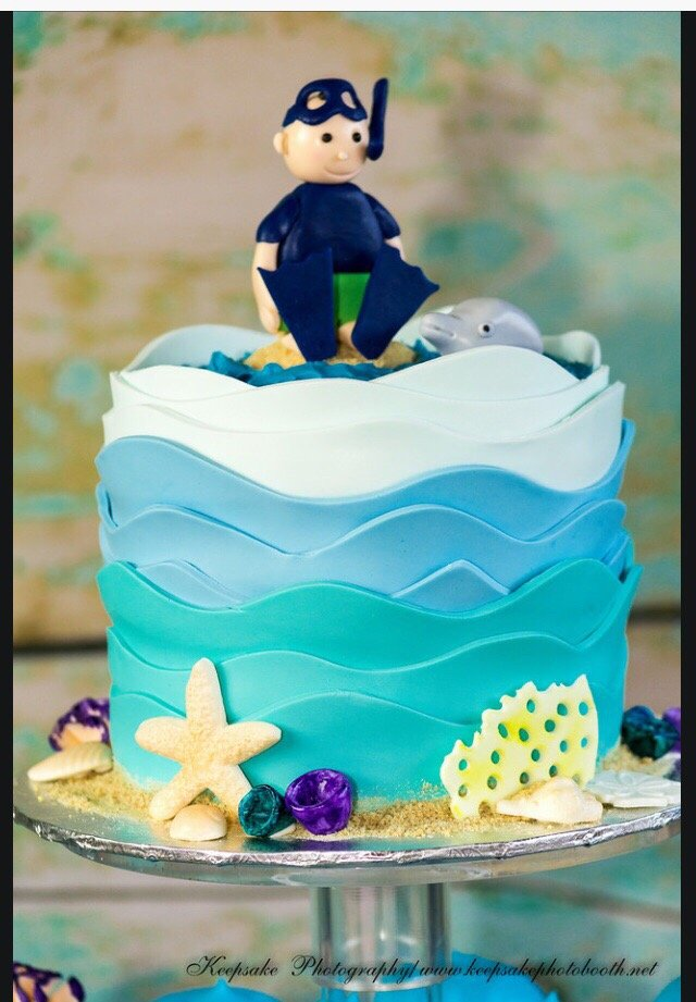 Under The Sea Birthday Cake With My Son Sitting In Top Of An Island