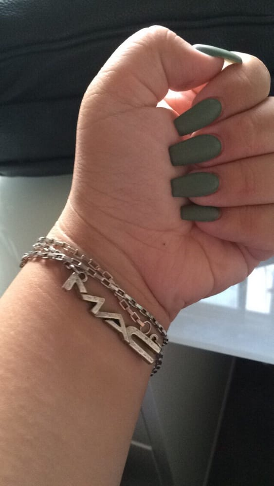 Photo Of Yvonne S Nails Newark Ca United States Matte Army Green Coffin