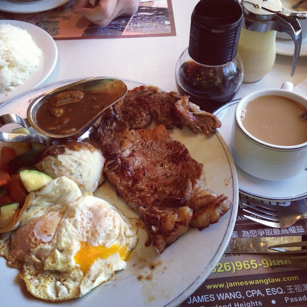 Diet what diet? Steak and eggs with Hong Kong style coffee milk tea ...