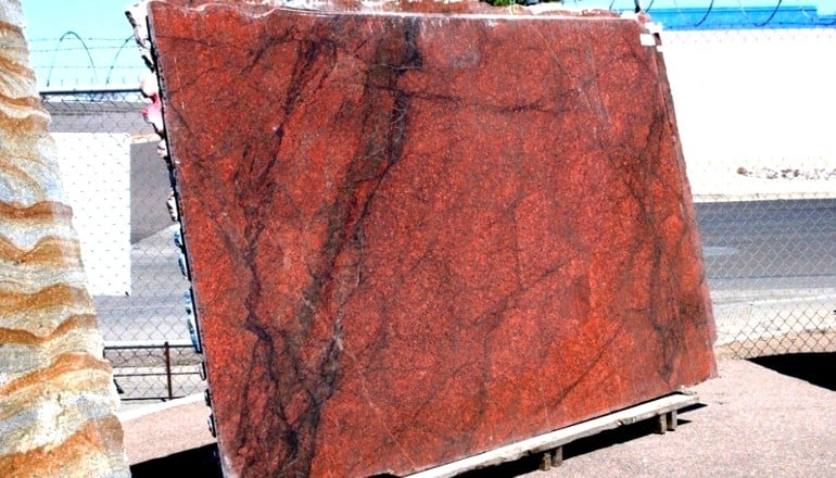Red Dragon Granite Stone : Full slabs of red dragon granite imagine this in a