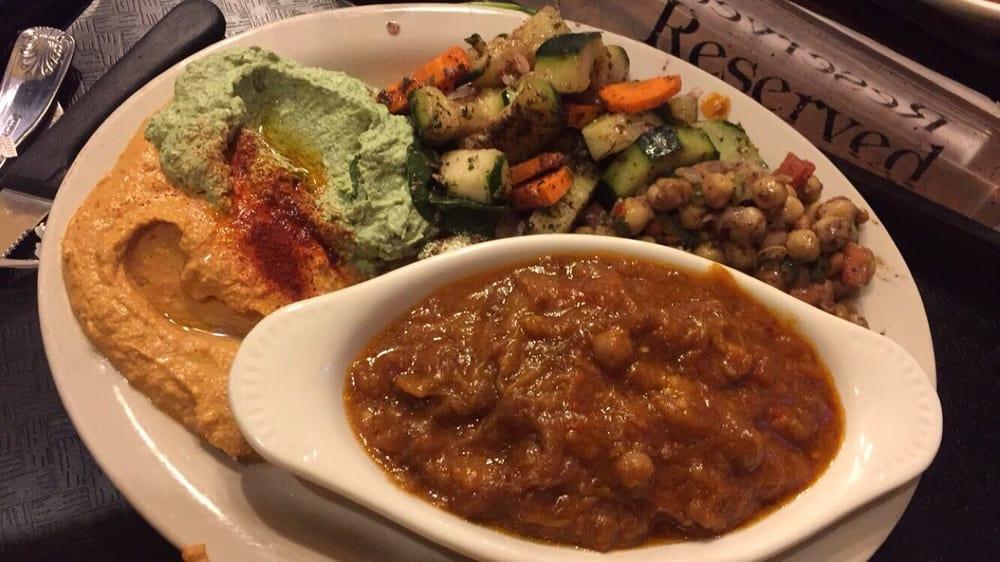 Spicy hummus spinach hummus mediterranean salad for Aladdin mediterranean cuisine houston tx