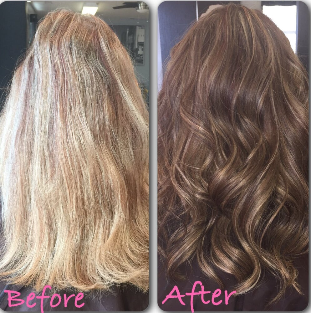 Color Cut By Martha Strawberry Blonde To Brown Base With Blonde