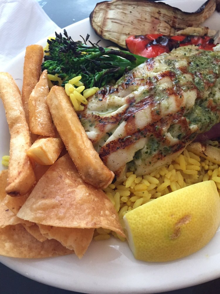 Red snapper plate with fries and rice yelp for Bluesalt fish grill