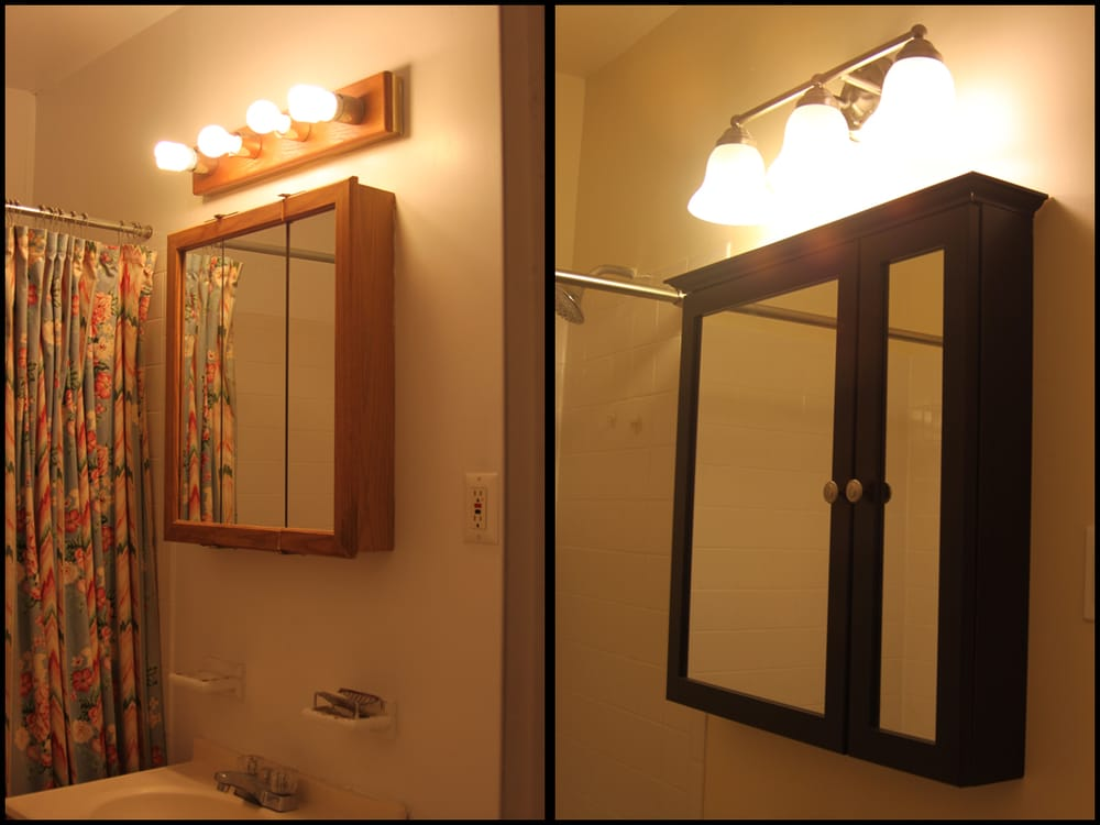 Installed New Medicine Cabinet And Light Fixture