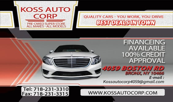 koss auto corp car dealers 4059 boston rd eastchester east bronx ny united states. Black Bedroom Furniture Sets. Home Design Ideas