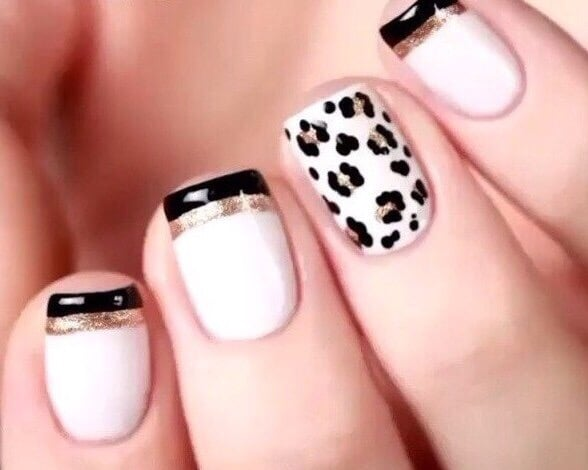 Pink White And Black Gel Nails – Papillon Day Spa