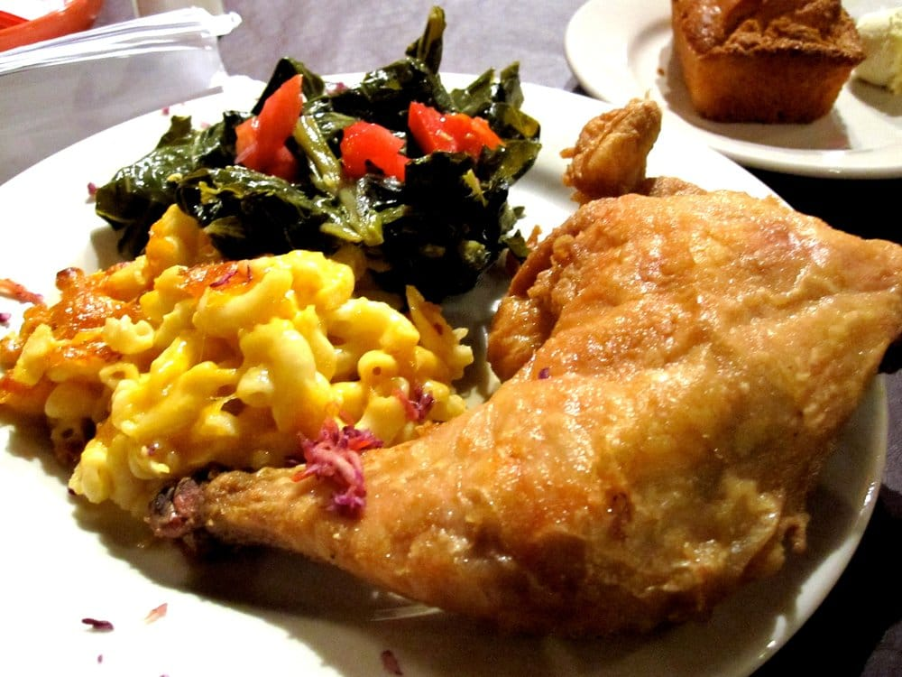Southern Fried Chicken Leg Quarter With Mac N Cheese And Collard